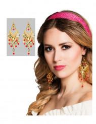 Ohrringe für orientalische Tänzerin gold-rot