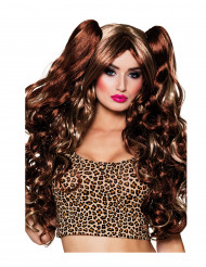 Langhaar-Perücke mit Haarclips braun-blond