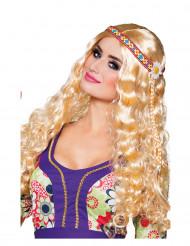 Blonde Hippie-Perücke mit Haarband für Damen