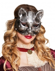 silberne Katzenaugenmaske Steampunk