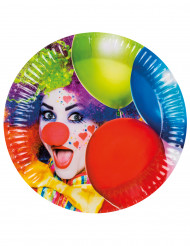 Pappteller-Party Clown 23cm bunt