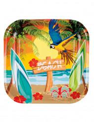 Exotischer Partyteller Hawaii 6 Stück bunt 23cm