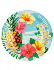 Partyteller Hawaii 6 Stück bunt 23cm