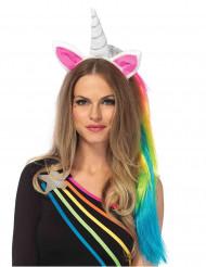 Einhorn-Haarreif mit Haarteil für Damen bunt