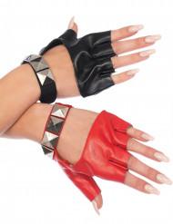 Rockige Handschuhe für Frauen schwarz rot