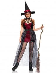 Elegantes Hexenkostüm mit abnehmbarem Rock Damen Halloween