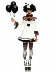 Harlekin Clown Pierrot Damenkostüm schwarz-weiss