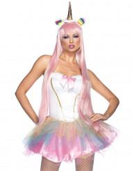 Sexy Einhorn-Kostüm für Damen pastell