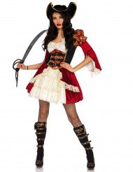 Sexy Piratin Damenkostüm rot-schwarz-beige