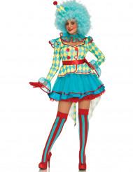 Verrückte Clownsfrau Kostüm für Damen bunt