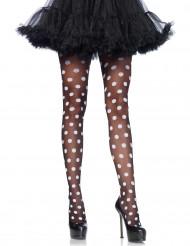 Strumpfhose schwarz-weiss gepunktet für Damen