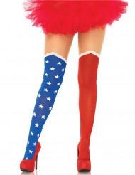 USA-Strumpfhose für Damen Superheldin blau-rot-weiss