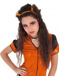 Pailletten Haarreif mit Hörnern für Kinder orange
