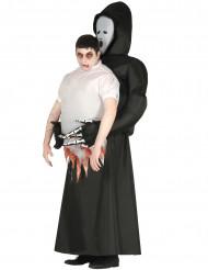 Schauriges Carry-Me Sensenmann-Kostüm humorvoll schwarz-weiss