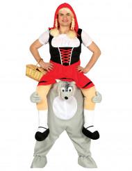 Kostüm Rotkäppchen auf Wolf Huckepack