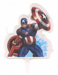 Captain America™ Kerze für Kindergeburtstage Kuchenzubehör bunt 9,5x6,5cm