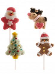 Weihnachten Süßigkeiten-Spieß mit Marshmallow 4 Stück