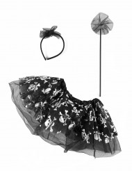 Mädchen Kostümzubehör Totenschädel schwarz-silber