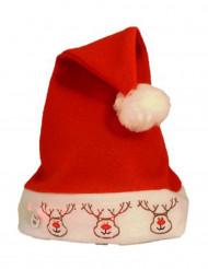 Rentier-Weihnachtsmütze mit LED Funktion rot-weiss