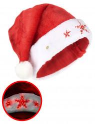 Leuchtende Nikolausmütze Schneeflocken rot-weiß