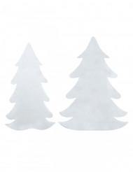 Dekorative Weihnachtsbäume Raumdekoration aus Wollfilz 6 Stück weiss
