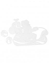 Weihnachtsmann mit Kutsche Fensterdeko 5 x 5 cm