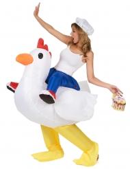 Aufblasbares Hühnchen Reiterin Kostüm bunt