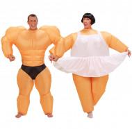 Humorvolles Paarkostüm aufblasbare Ballerina und Bodybuilder