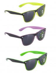 50er-Jahre-Brille Partybrille nachtleuchtend gelb-lila-grün