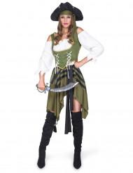 Verführerische Piratin Seeräuberin Damenkostüm grün