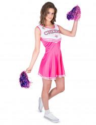 Sexy Cheerleaderin Kostüm für Damen pink-weiss