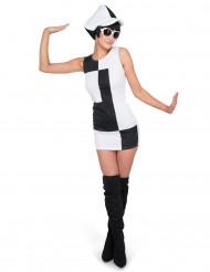 Discokleid schwarz weiß für Damen