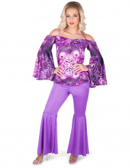 Disco Kostüm für Damen Batik-Muster lila