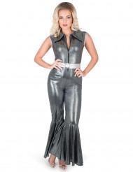 Disco Kostüm schwarz für Damen