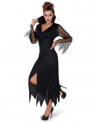 Hexen-Damenkostüm mit Spitze schwarz