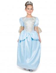 Prinzessinnen-Mädchenkostüm mit Diadem blau-silberfarben