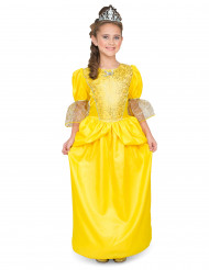 Prinzessinnen - Kostüm für Mädchen mit Diadem gelb-silberfarben