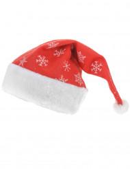Weihnachtsmütze mit glitzernden Schneeflocken rot-weiß