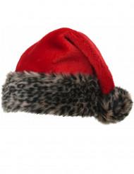 Weihnachtsmütze Tiger-Motiv beige-braun-rot
