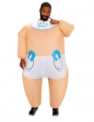 Aufblasbares Riesenbaby-Kostüm hautfarben-weiss