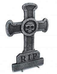 Deko Kreuz Grabstein mit Totenkopf