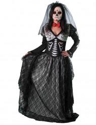 Tag der Toten Gräfin Skelett-Damenkostüm schwarz-grau