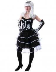 Prinzessinen Skelett Damenkostüm schwarz-weiss
