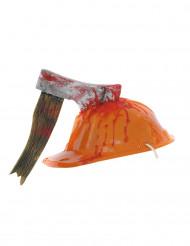 Bauarbeiter-Helm mit blutiger Axt Halloween