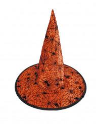 Halloween-Hexenhut mit Spinnennetzen für Kinder