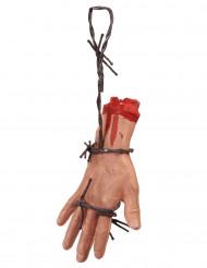 Abgehackte Hand mit Stacheldraht beige-grau