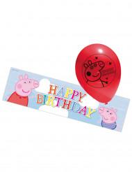 Peppa Wutz™ Luftballons und Poster 6-teilig rot-bunt