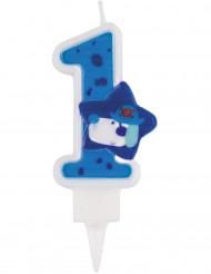 Kerze Zahl 1 Tortendekoration 9cm blau