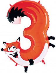 Folienballon Ziffer 3 Fuchs