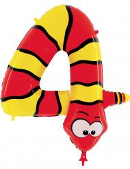 Folienballon Nummer 4 Schlange